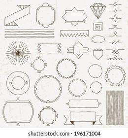 Vintage hand drawn design elements set 4. Vector illustration.