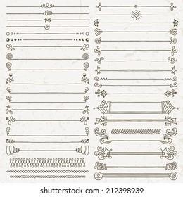 Vintage hand drawn design elements set 7. Vector illustration.