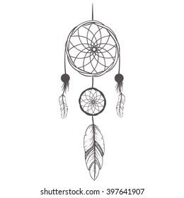 Vintage Hand Drawn Dream catcher  feather boho