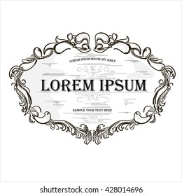 Vintage hand drawn engraving design floral frame with text box vector illustration