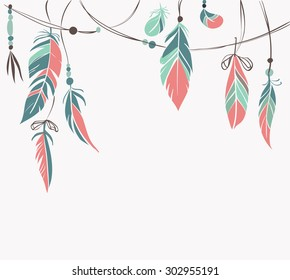 Vintage hand drawn feathers and beads on white background. Vector illustration