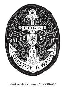 Vintage Hand Drawn Flourish Anchor Badge