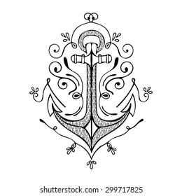 Vintage Hand Drawn Flourish Anchor. Vector illustration