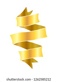 Vintage hand drawn folded ribbon banner vector illustration. Golden gradient isolated over white.