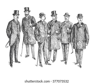 Vintage Hand Drawn Gentleman Set. Men's clothing. Retro Illustration in ancient engraving style