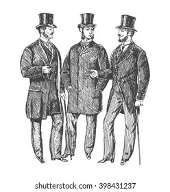 Vintage Hand Drawn Gentleman Set. Victorian Era Collection. Men's clothing. Retro Illustration in ancient engraving style
