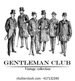 Vintage Hand Drawn Gentleman Set. Men's clothing. Retro Illustration in ancient engraving style. Monochrome style. Vintage Club Emblem