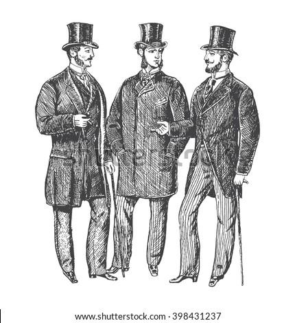 Vintage Hand Drawn Gentleman Set Victorian Stock Vektorgrafik