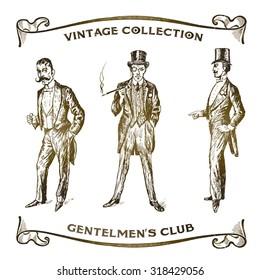 Vintage Hand Drawn Gentlemen Set. Men's fashion of the 20s