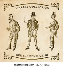 Vintage Hand Drawn Gentlemen Set of male silhouettes retro1900s.