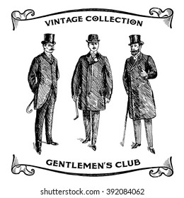 Vintage Hand Drawn Gentlemen Set. Male silhouettes retro1900s, 1920s. Men's clothing. Retro Illustration in ancient engraving style