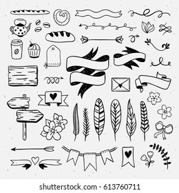 Vintage hand drawn graphic elements. Wedding cute doodle illustrations: ribbons, feathers, dividers, borders, arrows