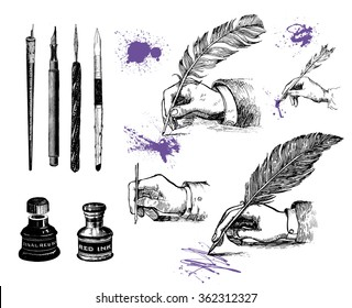 Vintage hand drawn hands writing with a feather pen. Vector set, engraving style. Inkwells, writing instruments and ink blots