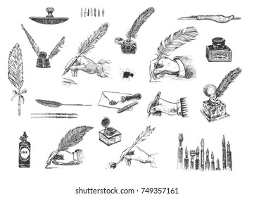 Vintage Hand drawn hands writing with a feather pen. Vector set, engraving style. Inkwells, writing and calligraphical tools, paperweight, penknives, envelope, wafer, stylus, pens, ink blots