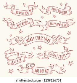 Vintage hand drawn holiday ribbons with text. Scroll sketch.Vector elements for design - posters,gift cards, labels,stickers. New Year design