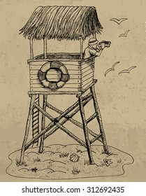 Vintage hand drawn illustration with lifeguard tower on a beach, with gulls and saver