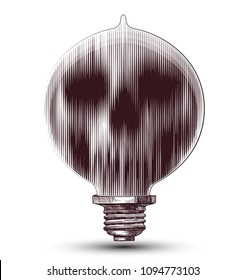 Vintage hand drawn illustration of old light bulb with inside a smeared skull.