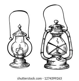 Vintage hand drawn lanterns, vector illustration