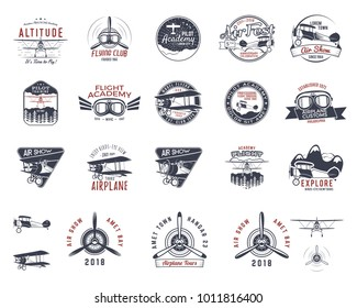 Vintage hand drawn old fly stamps. Travel or business airplane tour emblems. Biplane academy labels. Retro aerial badges isolated. Pilot school logo. Plane tee design, prints, web design. Stock vector