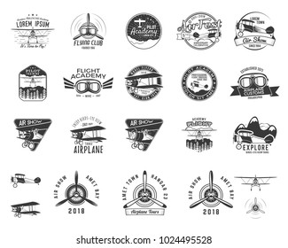 Vintage hand drawn old fly stamps. Travel or business airplane tour emblems. Biplane academy labels. Retro aerial badges isolated. Pilot school logo. Plane tee design, prints, web. Stock vector