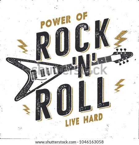 Vintage Hand Drawn Rock N Roll Poster Music Wallpaper Hard Tee Graphics Design
