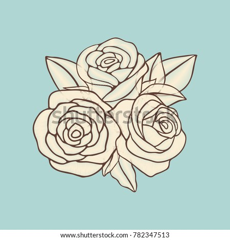 Vintage Hand Drawn Roses Patch Design Stock Vector Royalty Free