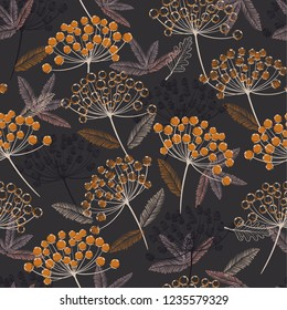 Vintage Hand drawn seamless vector pattern. Fall/winter line flowers and orange berries design for fashion,fabric.wallpaper and all prints on dark grey background.