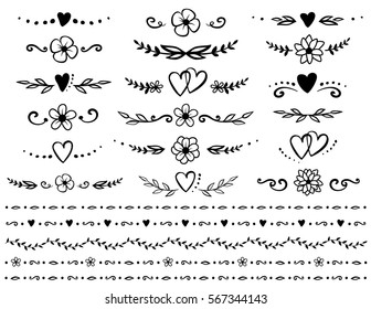 vintage hand drawn set of floral dividers, borders and rustic design elements