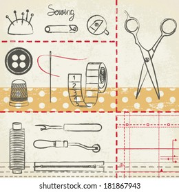 Vintage hand drawn sewing related poster