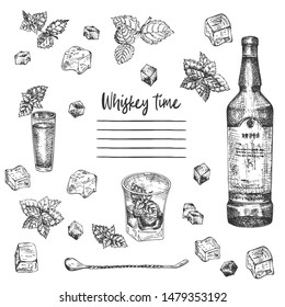 Vintage hand drawn sketch design bar, restaurant, cafe menu on white background. Graphic vector art. Iwhiskey with ice and mint Creative template for flyer, banner, poster Engraving retro style