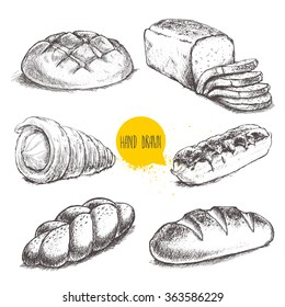 Vintage hand drawn sketch fresh style bakery set. Bread, cream roll tube, eclair on white background.