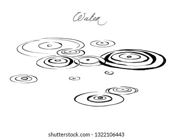 Vintage hand drawn sketch style circles on the water. Vector Ink drawing rain splash drops  on the river eps8 Abstract rainy weather on water surface. Drip liquid