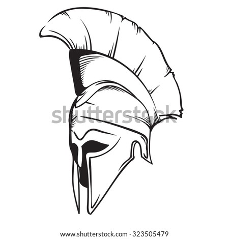 Vintage Hand Drawn Spartan Helmet Vector Stock Vector Royalty Free