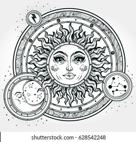 Vintage hand drawn sun, moon, night sky. Vector for coloring book, t-shirts design, tattoo, art. Sacred Geometry, Magic, Esoteric Philosophies. Vector illustration for commercial and personal use