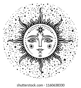 Vintage hand drawn Sun. Retro illustration face of the sun, vintage graphics art. Vector  illustration.