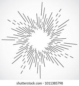 Vintage hand drawn sunburst vector illustration