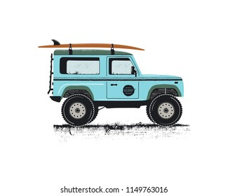 Vintage hand drawn surf car. Retro transportation with surfboard. Old style sufing automobile. Perfect for T-Shirt, travel mugs and otjer outdoor adventure apparel, clothing prints. Stock vector.