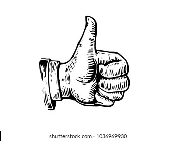 Vintage Hand Drawn Thumb Up Businessman Hand Gesture Illustration On White Isolated Background