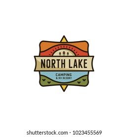 Vintage hand drawn travel badge. Camping label concept. Mountain expedition logo design. Travel badges. lumberjack logotype. North Lake, rv sign. Stock vector patch isolated on white background.