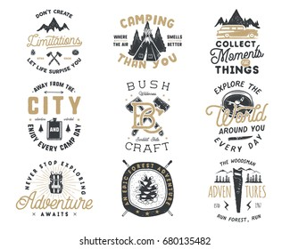 Vintage hand drawn travel badge and emblem set. Hiking labels. Outdoor adventure inspirational logos. Typography retro style. Motivational quotes for prints, t shirts, travel mug. Stock vector design