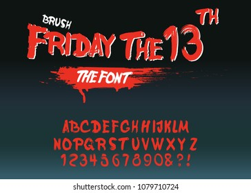"Vintage Hand Drawn Typeface ""Friday 13 "". Retro Styled Halloween Font. Cute and Spooky Lettering. Inspired by Old Comic Books and Scary Movie Posters. Vector Illustration."