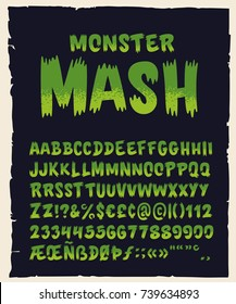 "Vintage Hand Drawn Typeface ""Monster Mash"". Retro Styled Halloween Font. Cute and Spooky Lettering. Inspired by Old Comic Books and Scary Movie Posters. Vector Illustration"