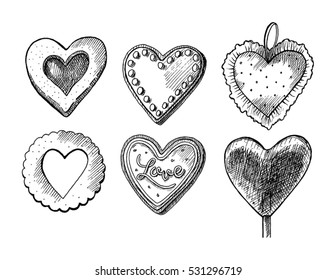 Vintage hand drawn vector Valentine's Day stuff â?? cookies, lollipop heart and little pillow. It can be used for creating postcards, gift cards, patterns, posters, banners and other.