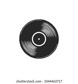 Vintage hand drawn vinyl LP record with gray label. Black Old technology, realistic retro design. Illustration. Stock vector musical plate icon isolated on white background.