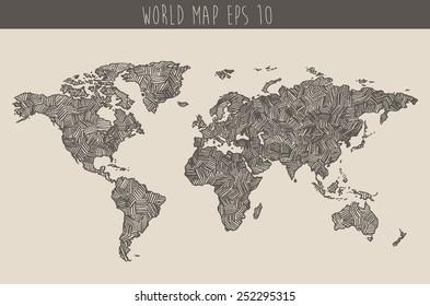 Vintage hand drawn world map, vector illustration, sketch