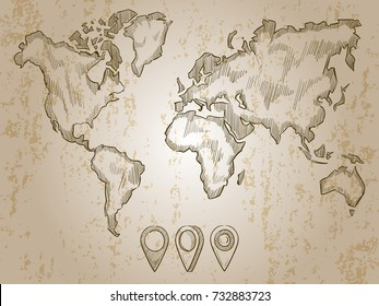 Vintage map stock images royalty free images vectors shutterstock vintage hand drawn world map and doodle pins world map earth travel sketch gumiabroncs Image collections