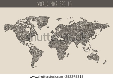 Vintage Hand Drawn World Map Vector Stock Vector (Royalty Free ...