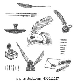 Vintage hand drawn hand writing with a feather pen. Vector set, engraving style. Inkwells, and writing instruments.