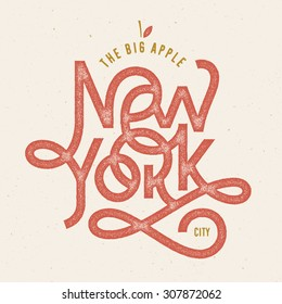 Vintage Hand lettered textured The big Apple New York city t shirt apparel fashion print Retro old school tee graphics Custom type design Hand drawn typographic composition Wall decor art poster