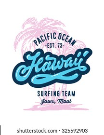 Vintage Hand lettered textured Hawaii Surfing t shirt apparel fashion print. Retro old school tee graphics. Custom type design. Hand drawn typographic composition. Hand crafted wall decor art poster.